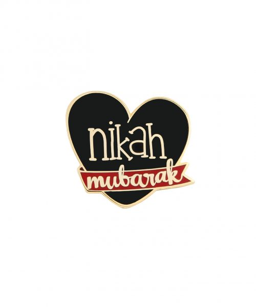 Halal Socks Nikah Mubarak Badge Pin Black Celebration Marriage